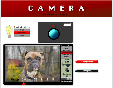 Screenshot of Craig Hickman's cameraDemo